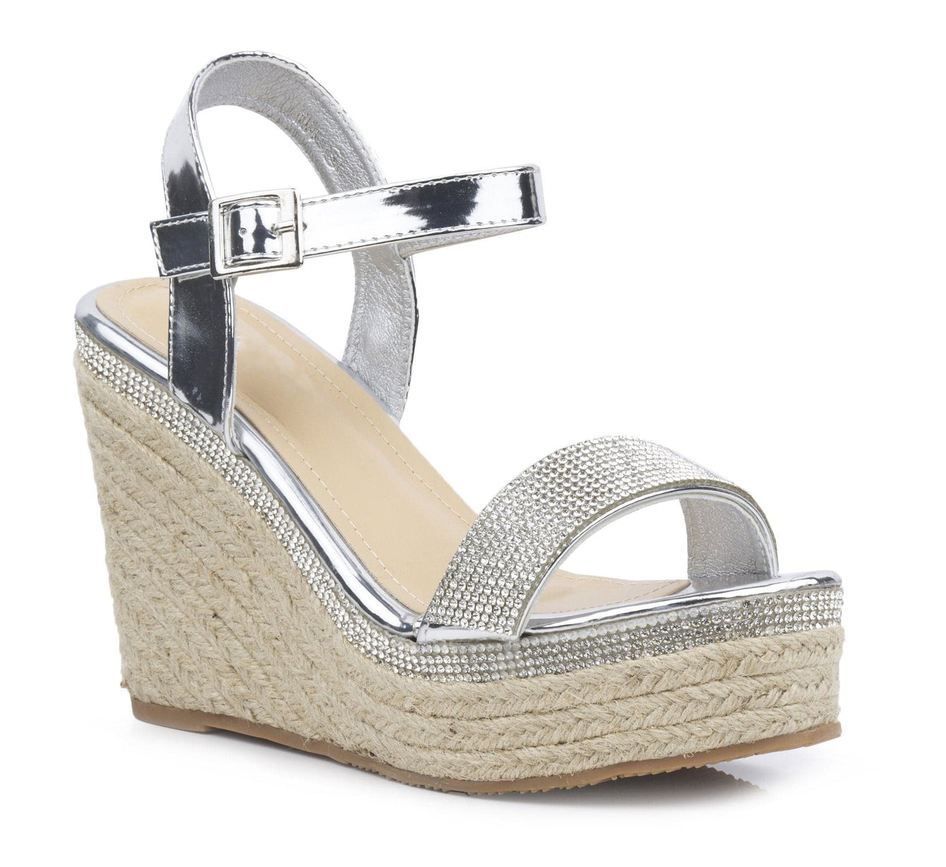 Espadrille Diamante Trim Wedge Sandal in Silver