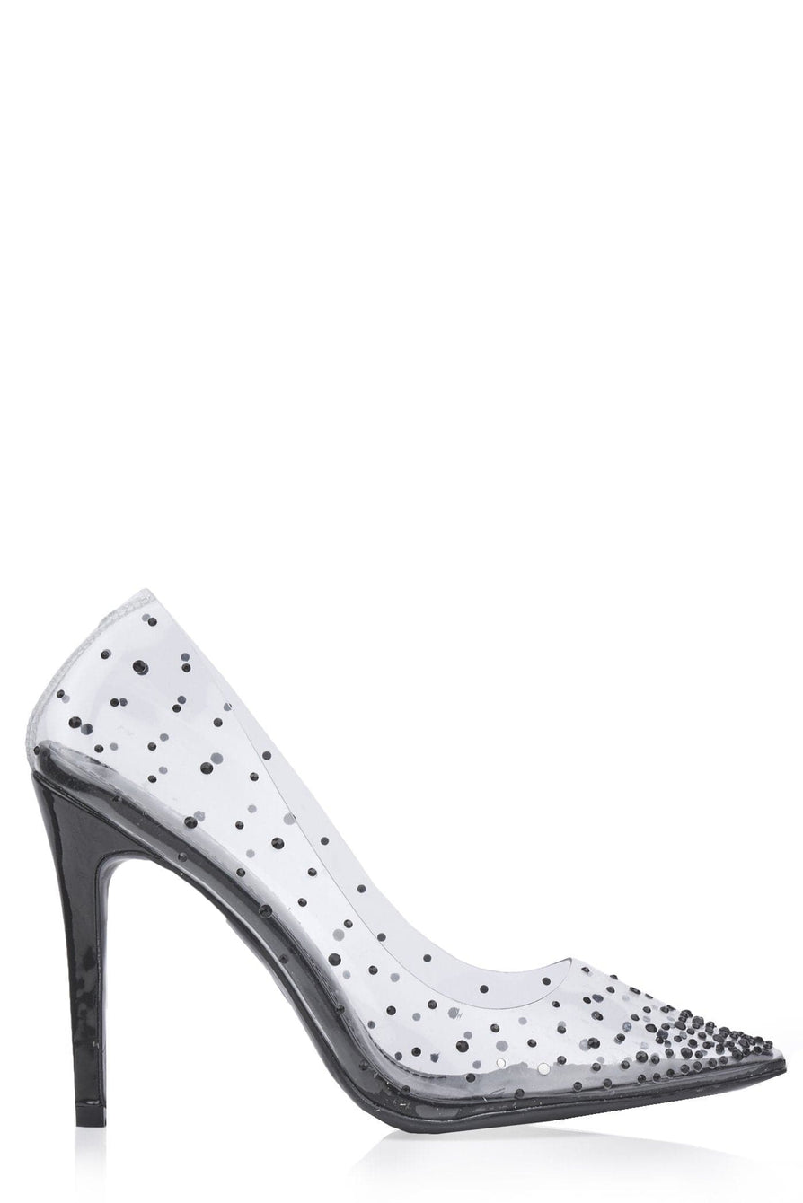 Cindy All Diamante Perspex Court Shoe in Black