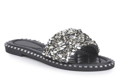 Cuba Gem Stone Cushioned Insole Open Toe Flat Slider In Black Flats Miss Diva