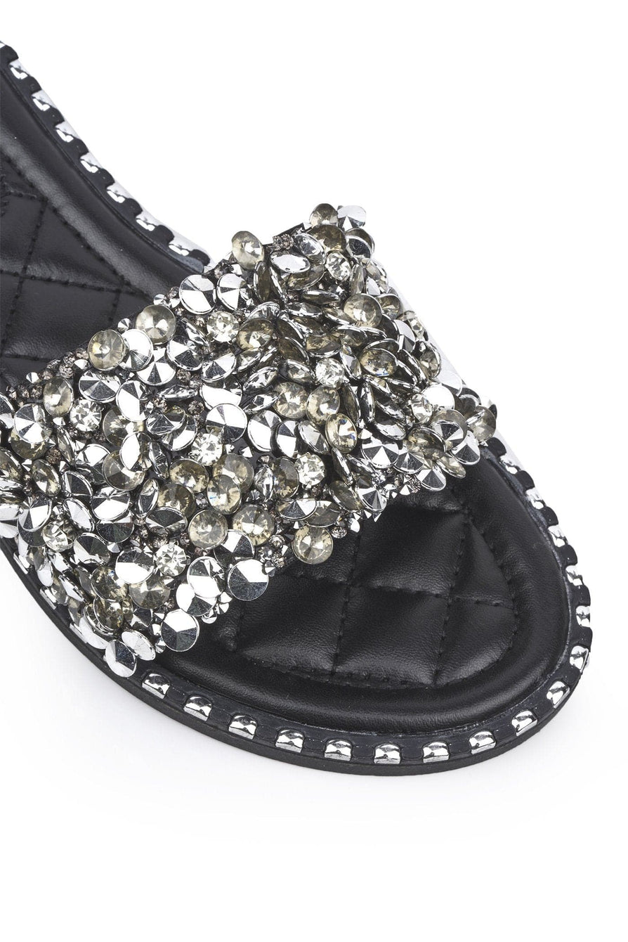 Cuba Gem Stone Cushioned Insole Open Toe Flat Slider In Black