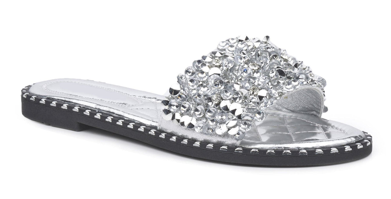 Cuba Gem Stone Cushioned Insole Open Toe Flat Slider In Silver