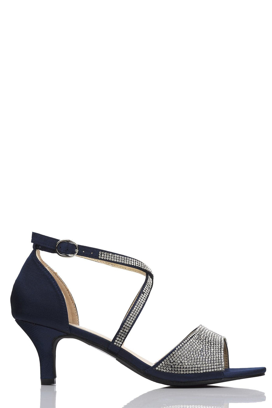 Marhkels Open Toe Diamante Crossover Sandal in Navy