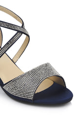 Open Toe Diamante Crossover Sandal in Navy