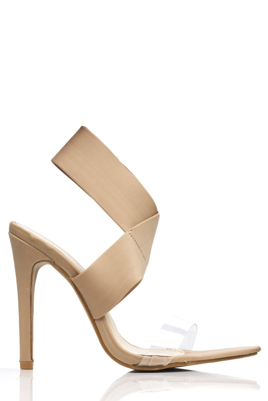 Penny Pointed Perspex & Crossover Sandal in Nude Lycra Heels Miss Diva