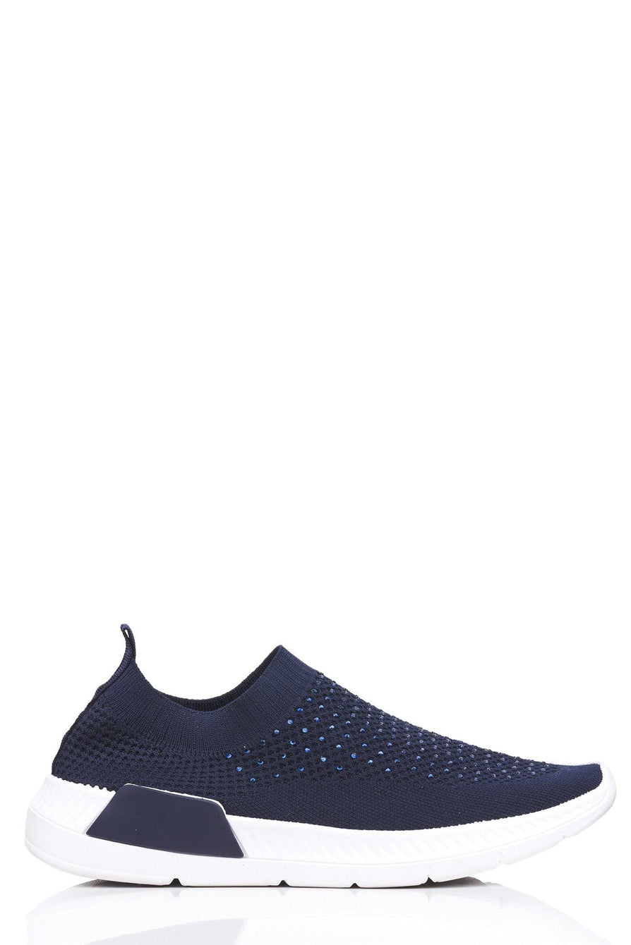 Diamante Slip on Knit Trainer in Navy