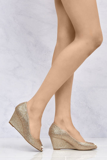 Heavenly Peeptoe Diamante Wedge in Champagne