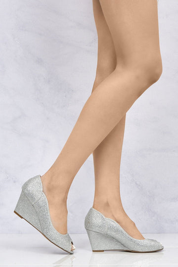 Heavenly Peeptoe Diamante Wedge in Silver