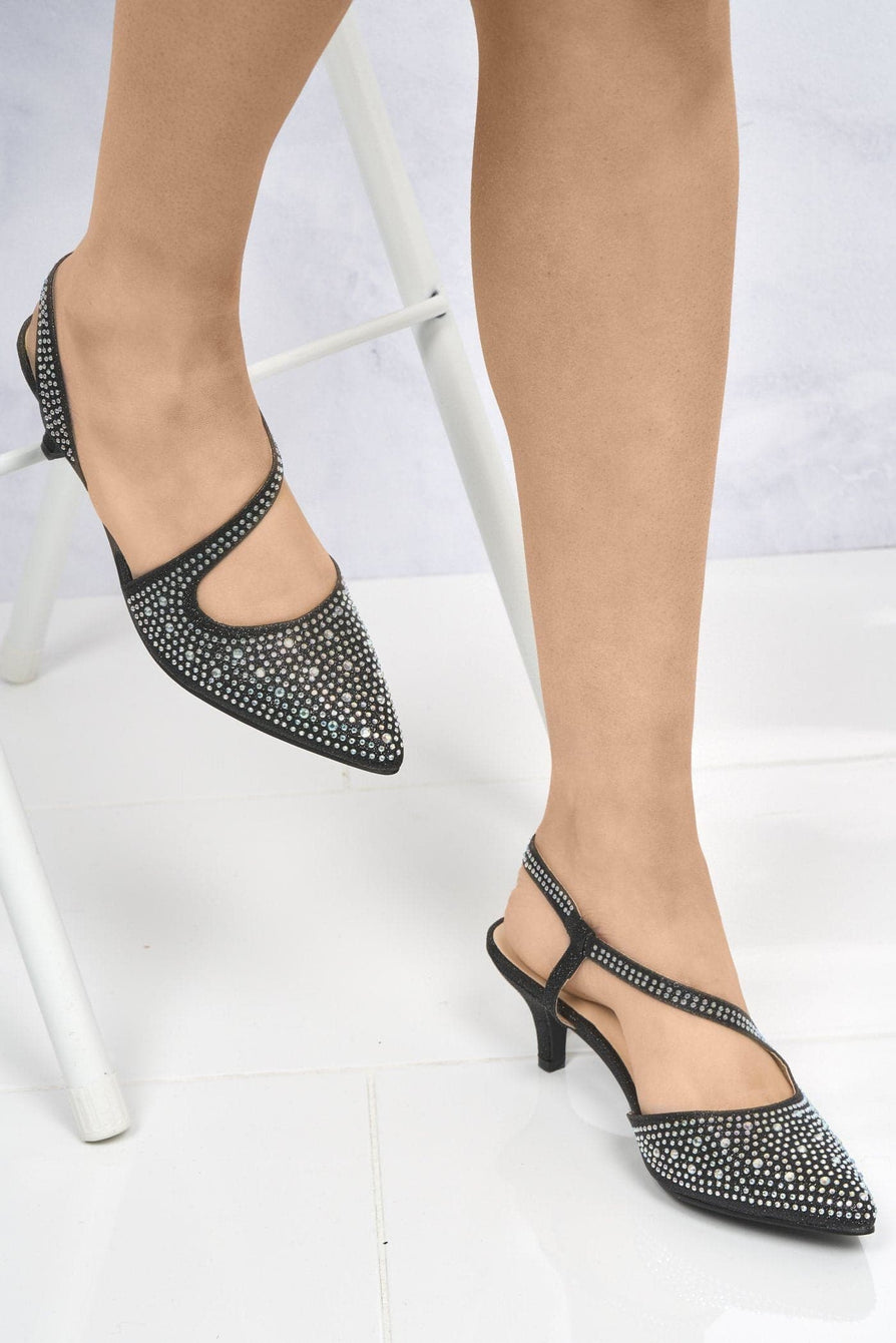 Captivated Pointed Toe Elasticated Sandal in Black