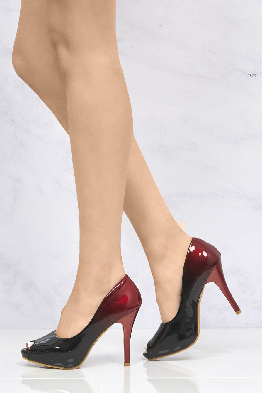 HoneyHoney Two Tone Peeptoe Shoe in Red