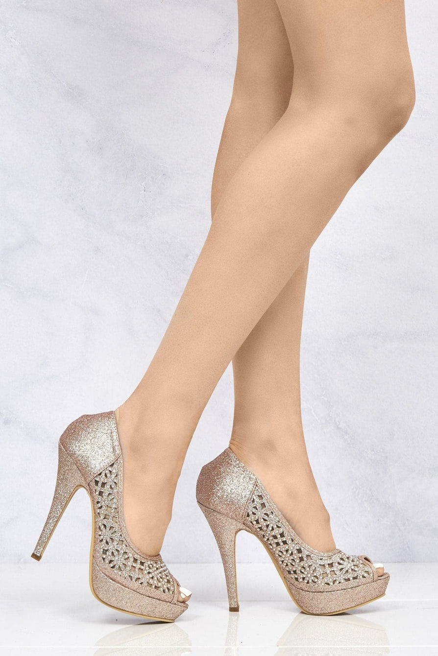 Datenight Peeptoe Diamante Mesh Side Shoe in Champagne Clearance Miss Diva Champagne 3