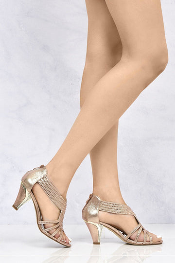 Indy Opentoe Diamante Stud Crossover Sandal in Rose Gold
