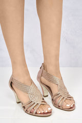 Opentoe Diamante Stud Crossover Sandal in Rose Gold