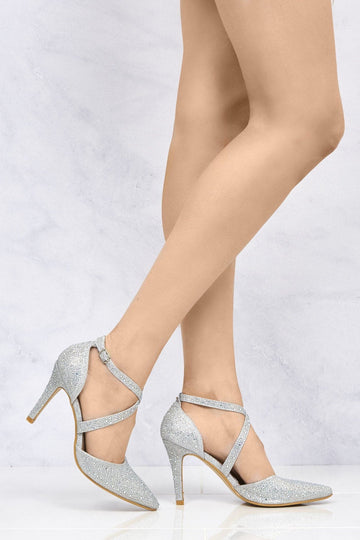 Whitney Crisscross Pointed Court Sandal in Silver