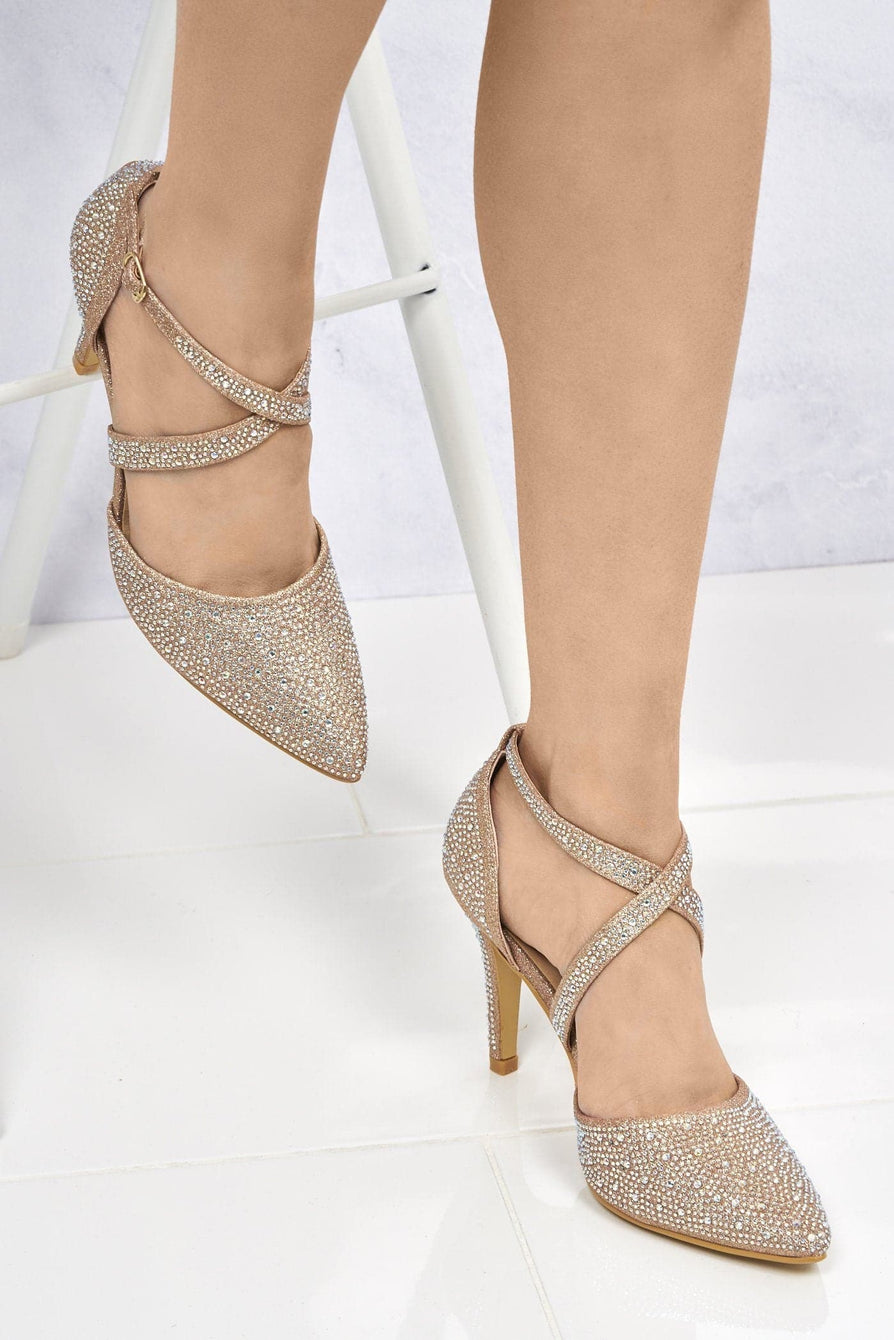 Crisscross Pointed Court Sandal in Champagne