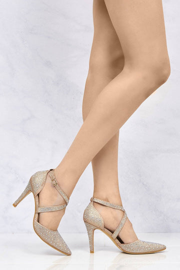Whitney Crisscross Pointed Court Sandal in Champagne