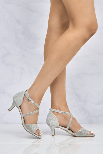 Marhkels Open Toe Diamante Crossover Sandal in Silver