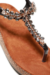 Flynn t bar diamante flower detailed sandal in Black