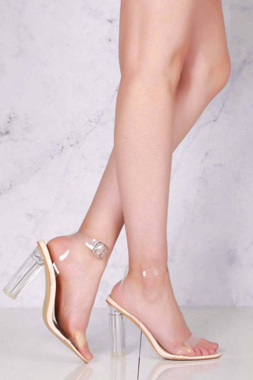 Block Heel Clear Strap Sandal in Clear