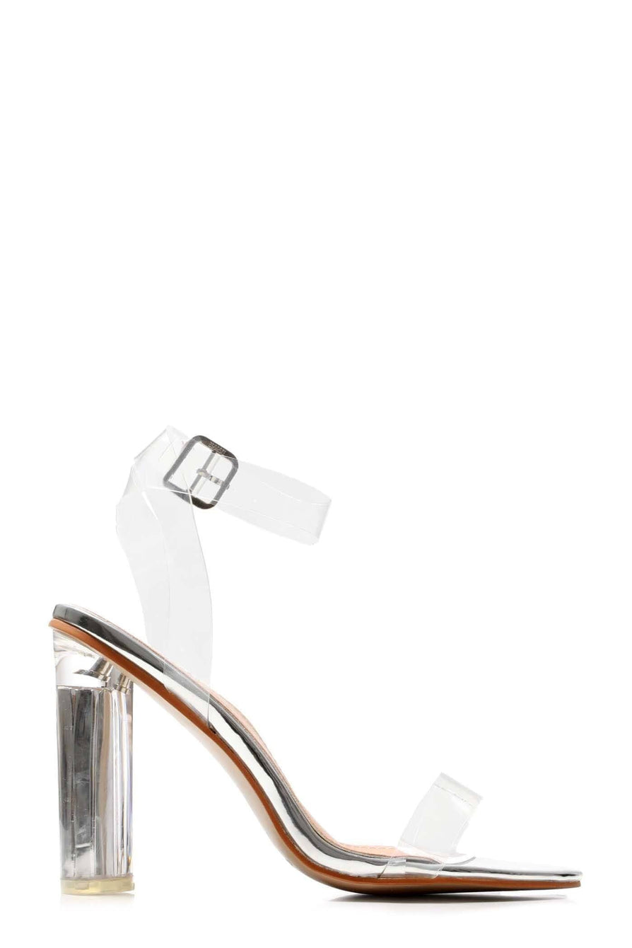 Gotta Clear Idea Block Heel Clear Strap Sandal in Silver