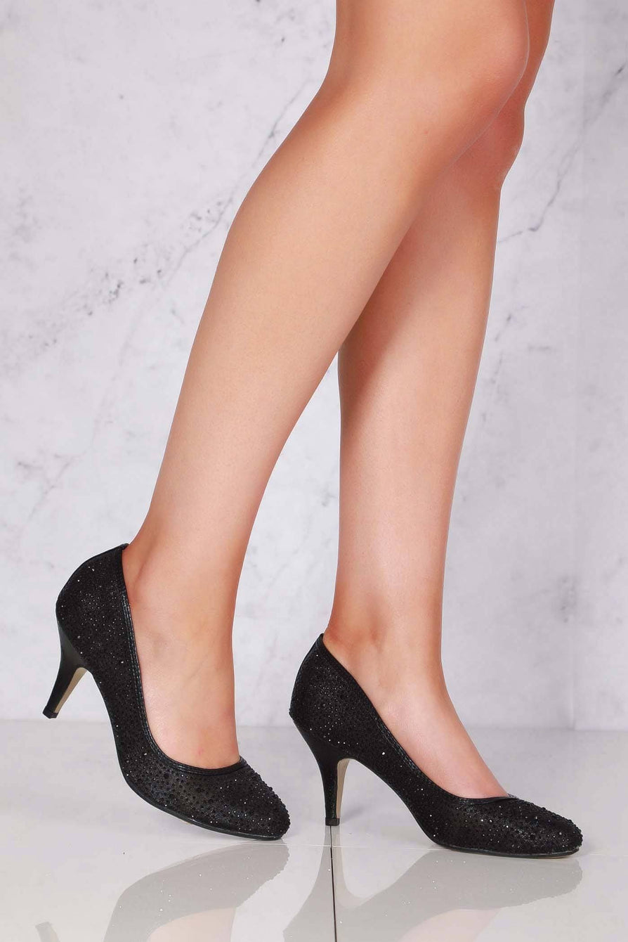 Philippa medium diamante mesh round toe heel in Black