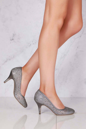 Philippa medium diamante mesh round toe heel in Pewter Clearance Miss Diva