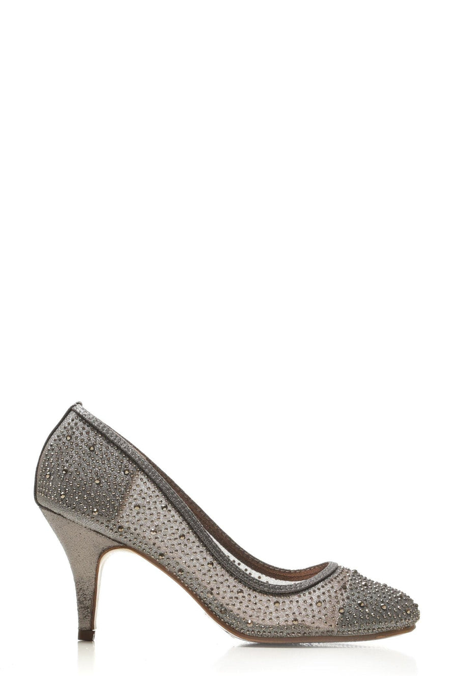 Philippa medium diamante mesh round toe heel in Pewter