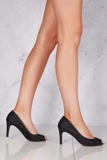 Elizabeth medium heel diamante mesh open toe in Black Clearance Miss Diva