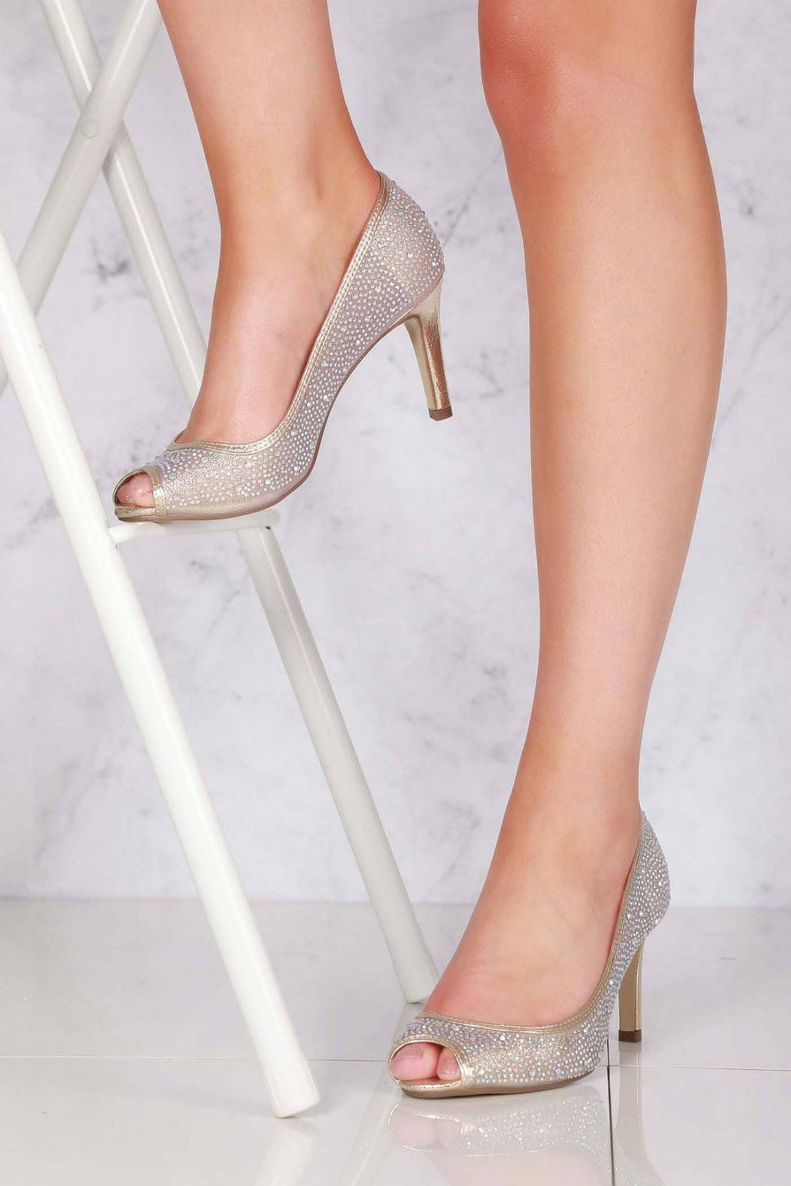 Elizabeth medium heel diamante mesh open toe in Gold
