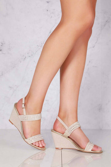 Leo Open Toe Diamante Wedge In Gold Clearance Miss Diva
