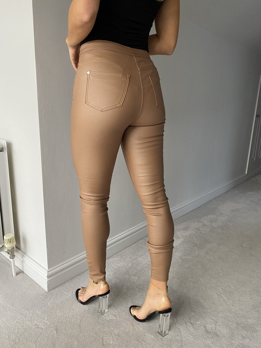 Greta Coated High Waist Jeggings in Camel Jeggins Miss Diva