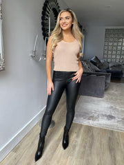 Greta Coated High Waist Jeggings in Black