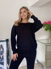 Cara Chunky Cable Knit Top & Legging Co ord Set in Black Loungewear Sets Miss Diva