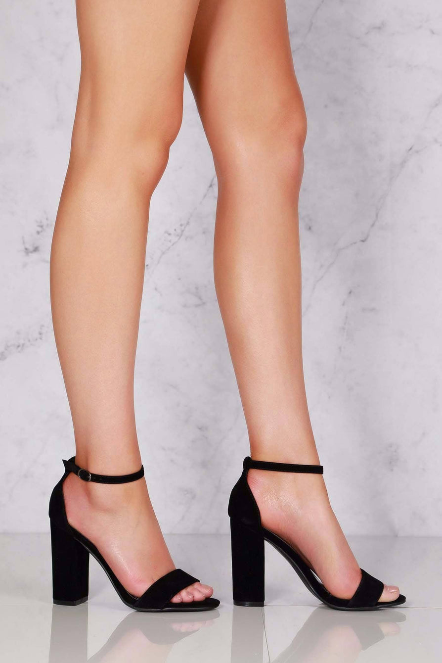 May barely there block heel ankle strap sandal in Black Suede