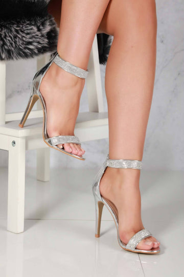 Calah open toe diamante ankle bracelet in Silver