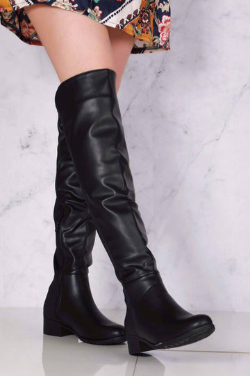 Tyla Over The Knee Elasticated Back Boot in Black Matt