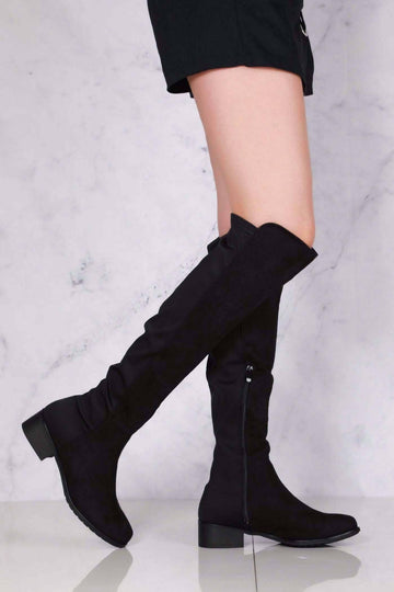 Tyla Over The Knee Elasticated Back Boot in Black Suede