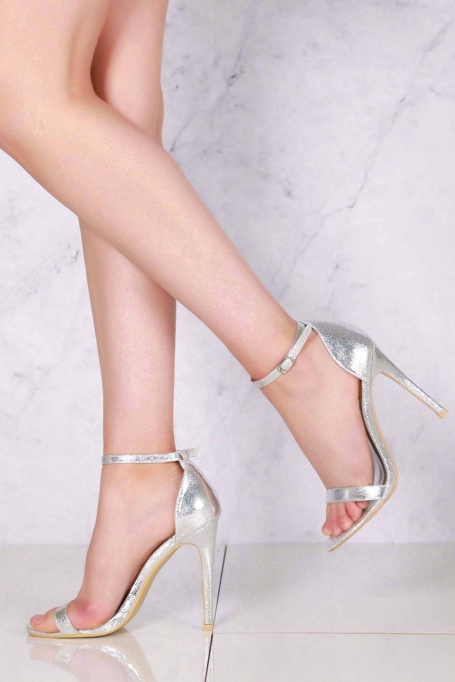 Annika high stiletto heel open toe ankle strap sandal in Silver