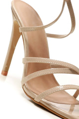 Selena Pointed Barely There Heeled Anklestrap Sandal in Nude Patent