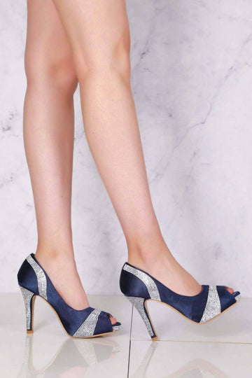 196b9a46a5 Solange diamante satin peep toe stiletto heels in Navy
