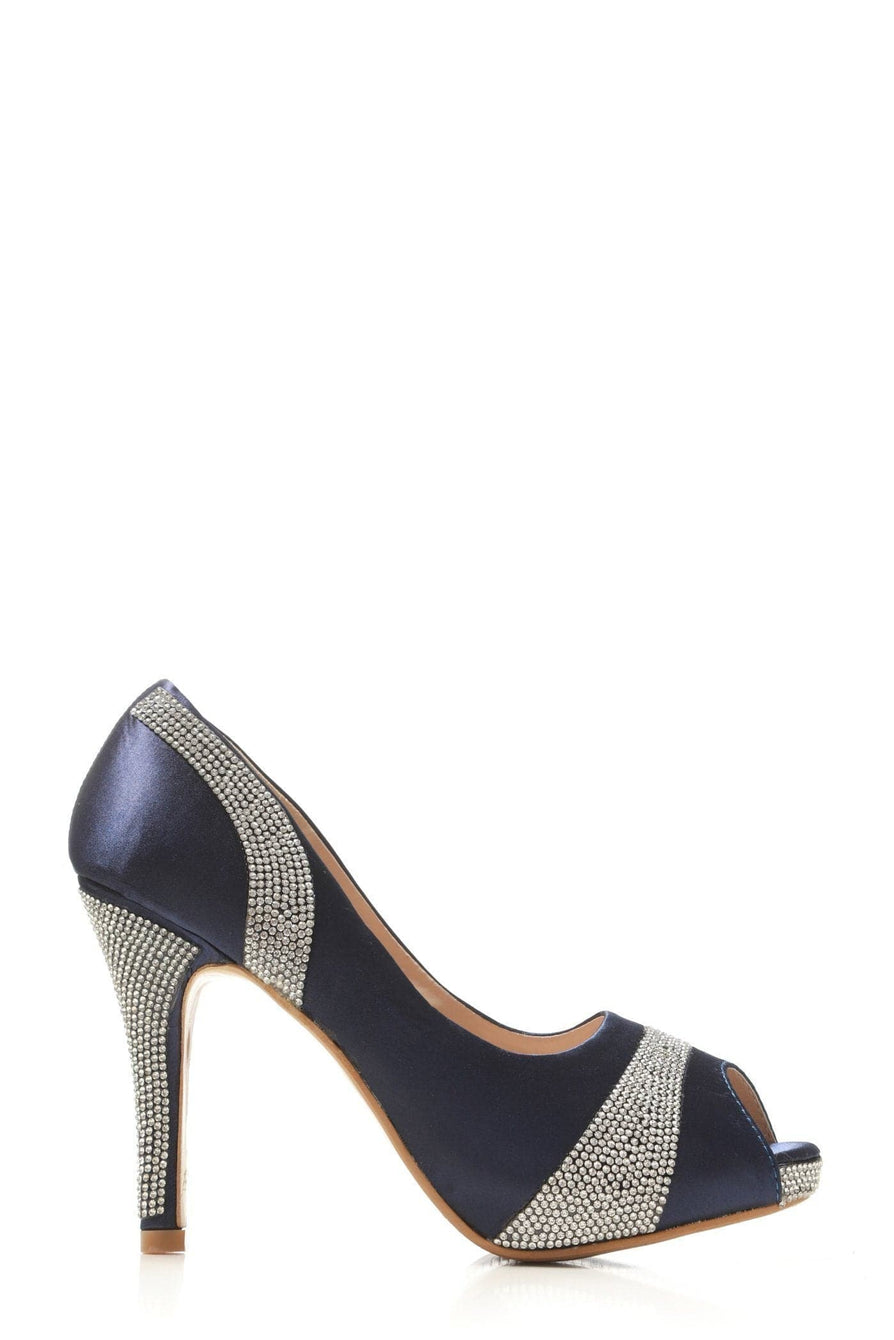 Solange diamante satin peep toe stiletto heels in Navy