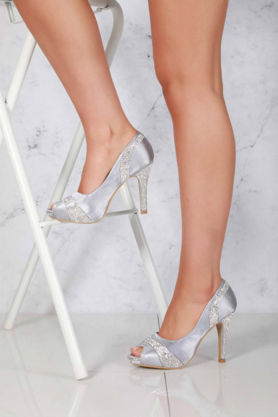 Solange Diamante Peep Toe Shoes in Silver