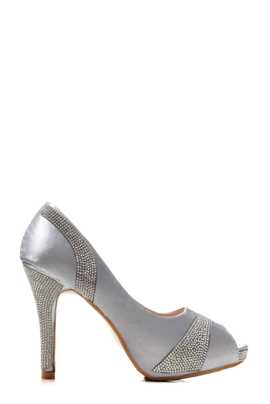 Solange Diamante Peep Toe Shoes in Silver Partywear Miss Diva Silver 3