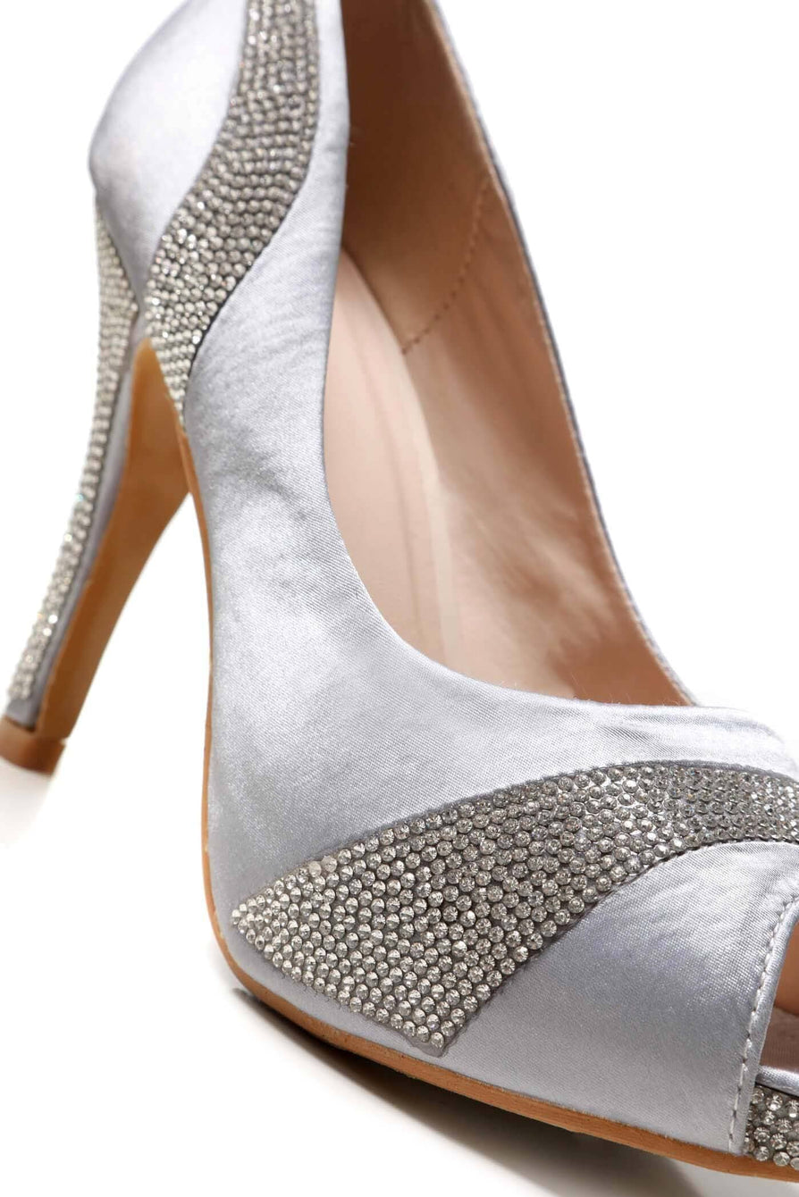 Solange Diamante Peep Toe Shoes in Silver Partywear Miss Diva