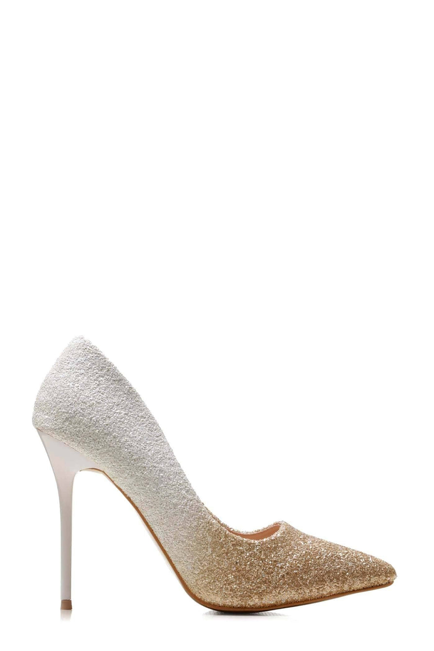Tiffany 2 Tone Glitter Court Shoe in White Clearance Miss Diva White 3