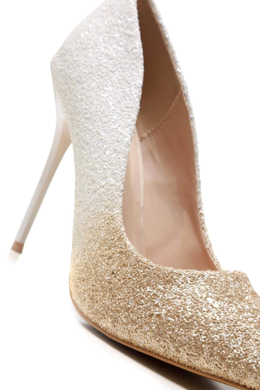 Tiffany 2 Tone Glitter Court Shoe in White Clearance Miss Diva