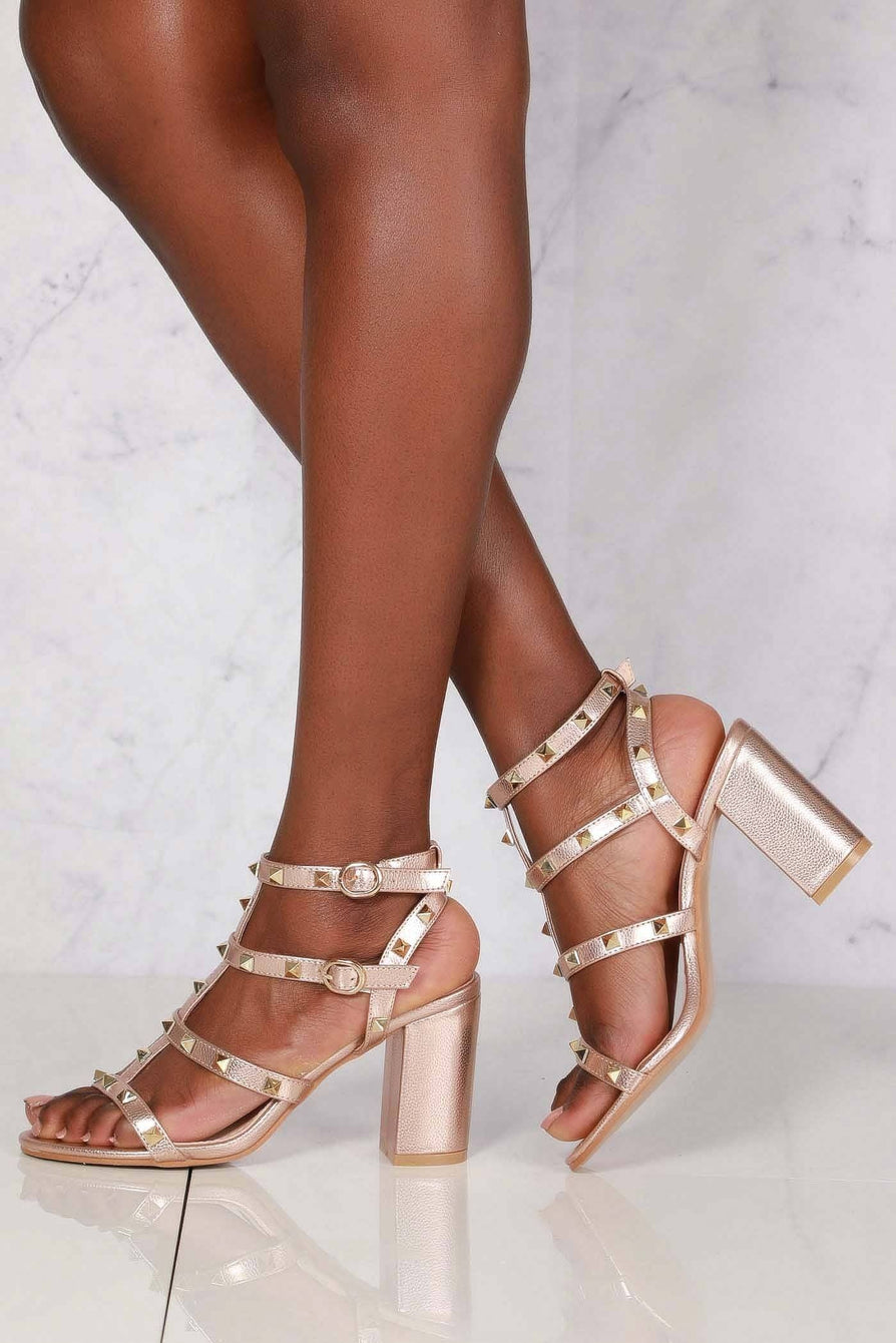 Abigail ankle strap with studs sandal in Champagne