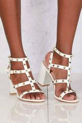 Abigail ankle strap with studs sandal in White Patent