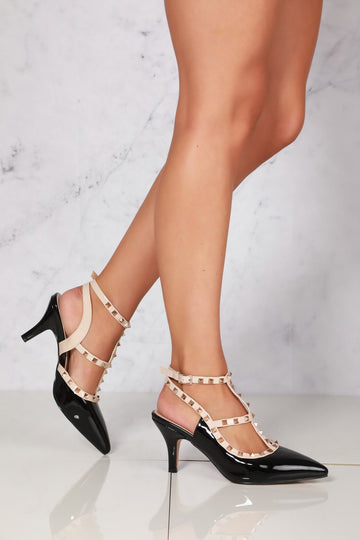 Valerie rockstud strap gladiator court shoe in Black Patent