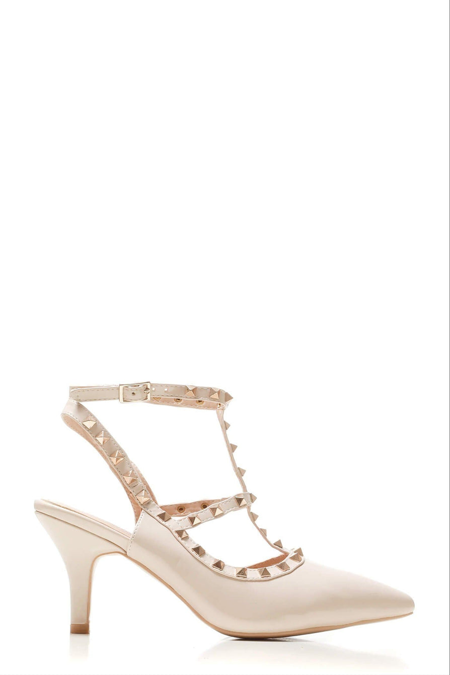 Valerie rockstud strap gladiator court shoe in Nude Patent