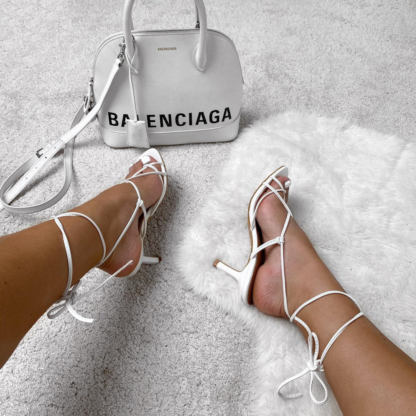 Melissa Mid Heel Lace Up Strap Cross Front Open Toe Sandal In White Heels Miss Diva White 3